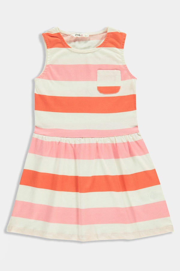Pink Coral Stripes Junior Kids Girl Dress - SinglePrice