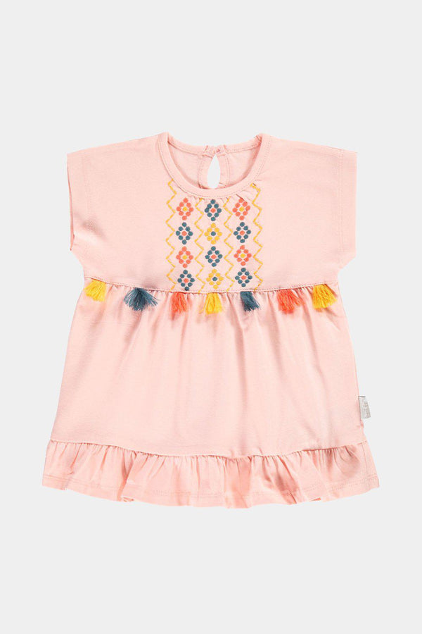Pink Multicolour Tassels Baby Girl Dress - SinglePrice
