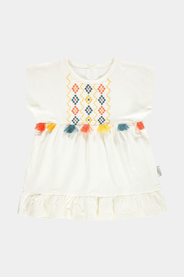 Off White Multicolour Tassels Baby Girl Dress - SinglePrice