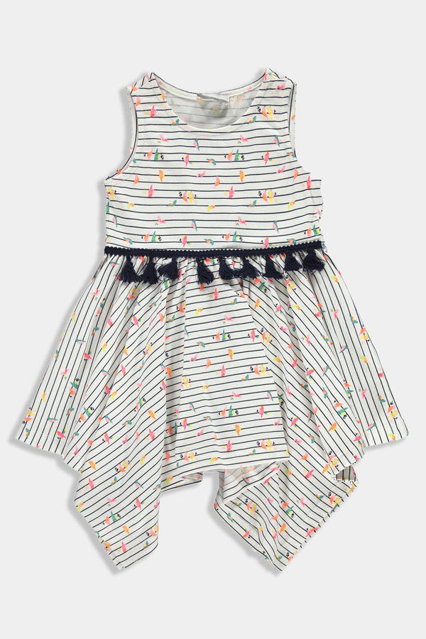 Cream Tiny Birds Print Handkerchief Tasselled Kids Girl Dress - SinglePrice