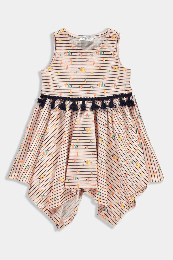 Salmon Tiny Birds Print Handkerchief Tasselled Kids Girl Dress - SinglePrice