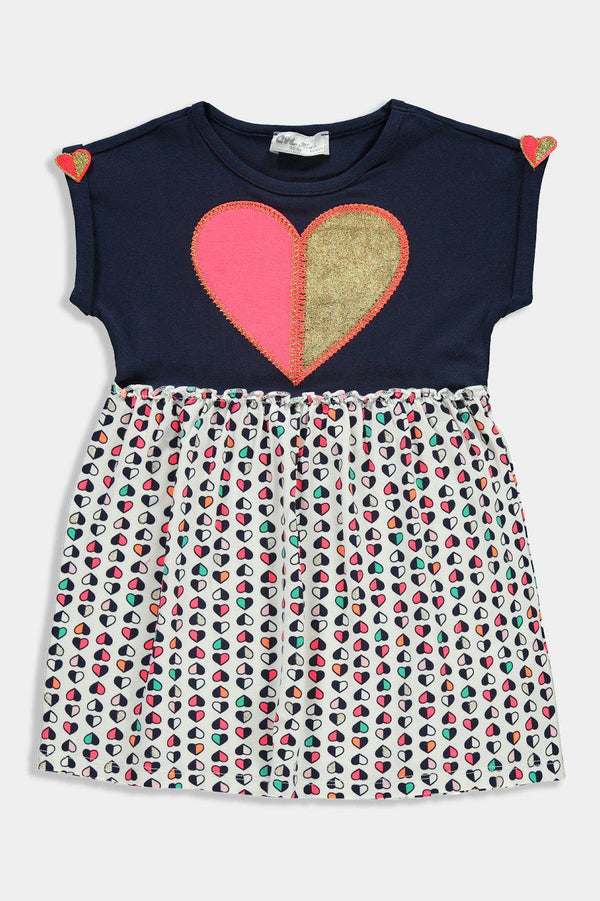 Navy Cream Embroidered Multicolour Hearts Kids Girl Dress - SinglePrice
