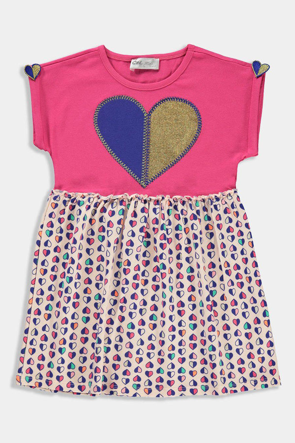 Pink Embroidered Multicolour Hearts Kids Girl Dress - SinglePrice