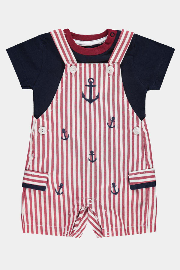 Red Stripes Nautical Boys Romper - SinglePrice
