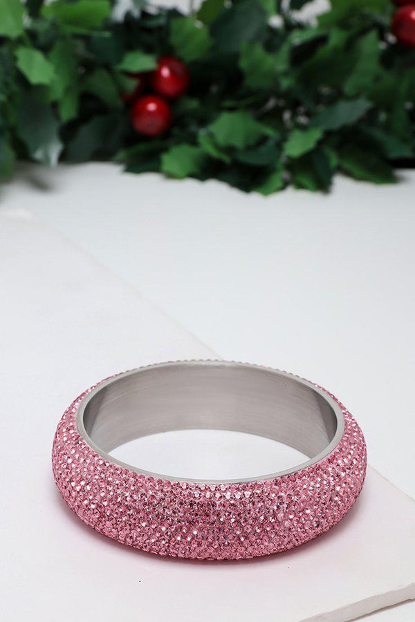 Pink Gem Fire Large Bangle Bracelet-SinglePrice