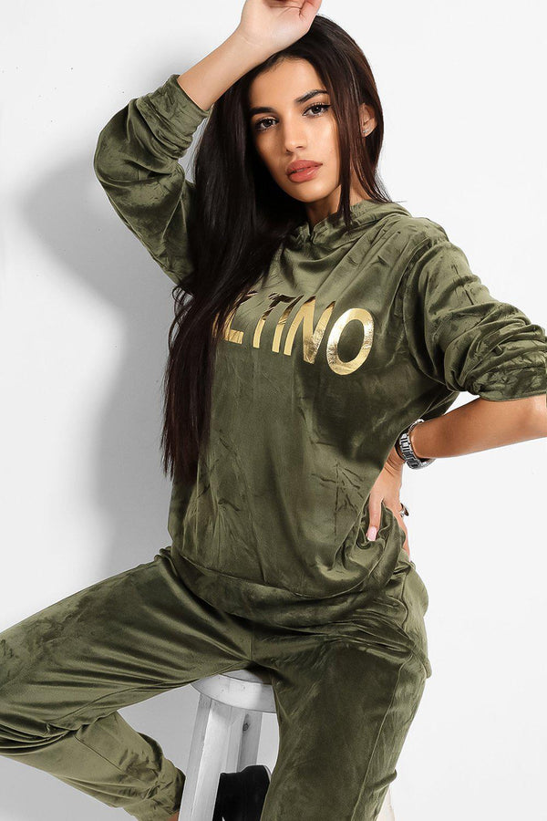 Khaki Super-Soft Touch Velvet Gold Slogan Tracksuit