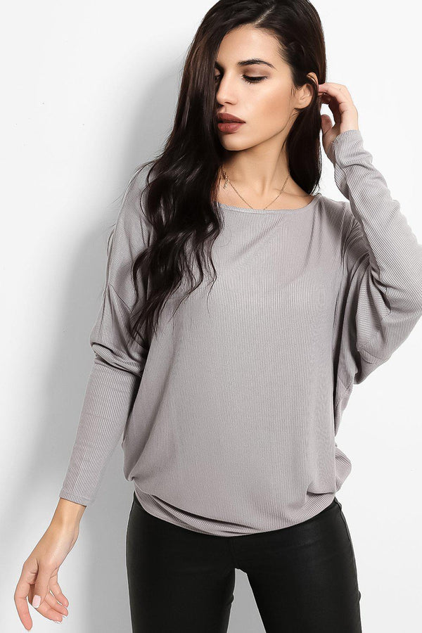 Grey Ribbed Finish Batwing Top - SinglePrice