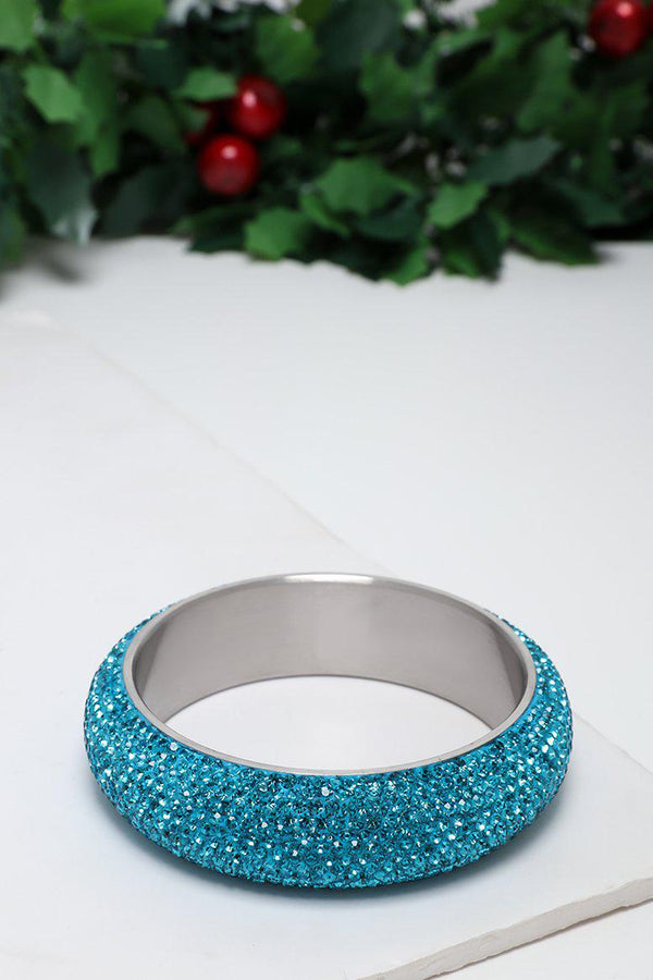 Blue Gem Fire Large Bangle Bracelet-SinglePrice