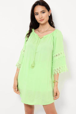 Light Green Crochet Lace Back Tunic Top - SinglePrice