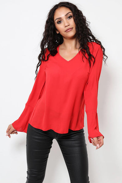 Gold Detail Back Chiffon Blouse-SinglePrice