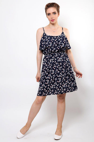 Pink Floral Print Navy Layered Dress-SinglePrice