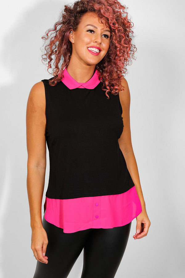 Hot Pink Collar And Hem Black Top - SinglePrice