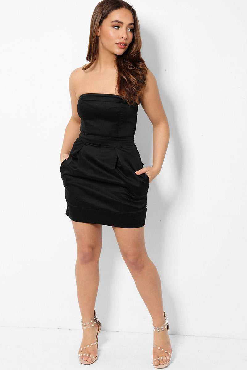 Black Bandeau Structured Mini Dress - SinglePrice