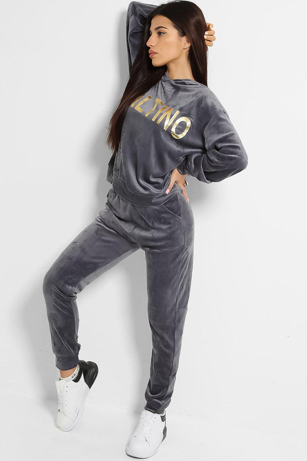 Grey Super-Soft Touch Velvet Gold Slogan Tracksuit