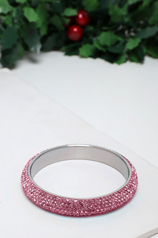 Pink Gem Fire Medium Bangle Bracelet - SinglePrice