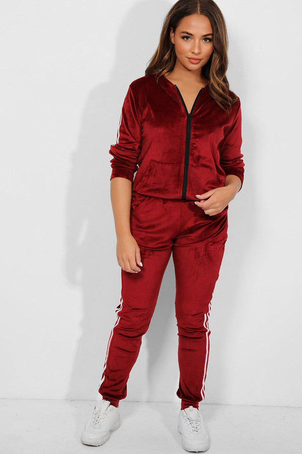 Burgundy Velour Twin White Stripe Hooded Tracksuit-SinglePrice