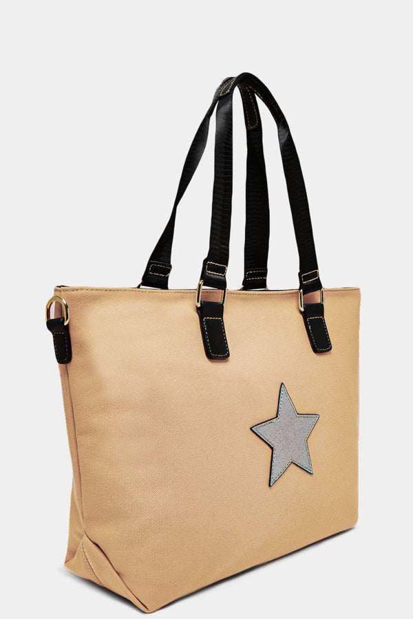 Apricot Glitter Star Front Canvas Large Tote Bag - SinglePrice
