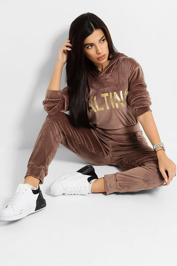 Taupe Super-Soft Touch Velvet Gold Slogan Tracksuit - SinglePrice