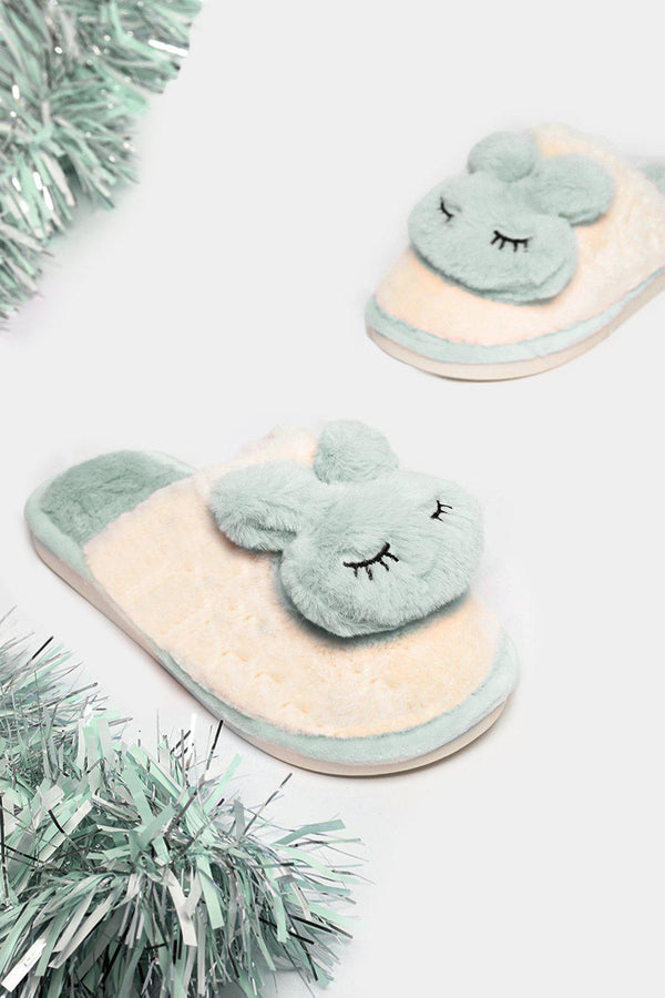 Light Green Soft Faux Fur Bunny Slippers-SinglePrice