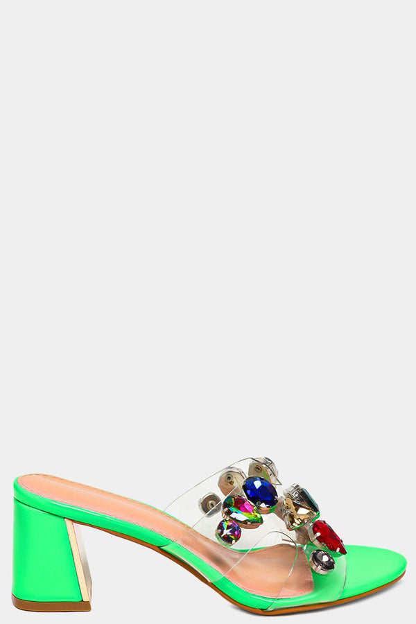 Neon Green Large Jewels Embellished Perspex Strap Heeled Sliders - SinglePrice