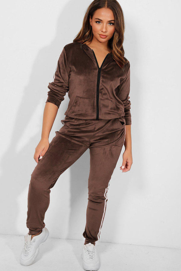Taupe Velour Twin White Stripe Hooded Tracksuit - SinglePrice