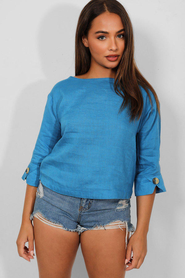 Blue Linen Blend 3/4 Sleeves Top - SinglePrice