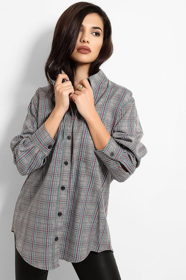 Grey Checked Lazy Fit Shirt