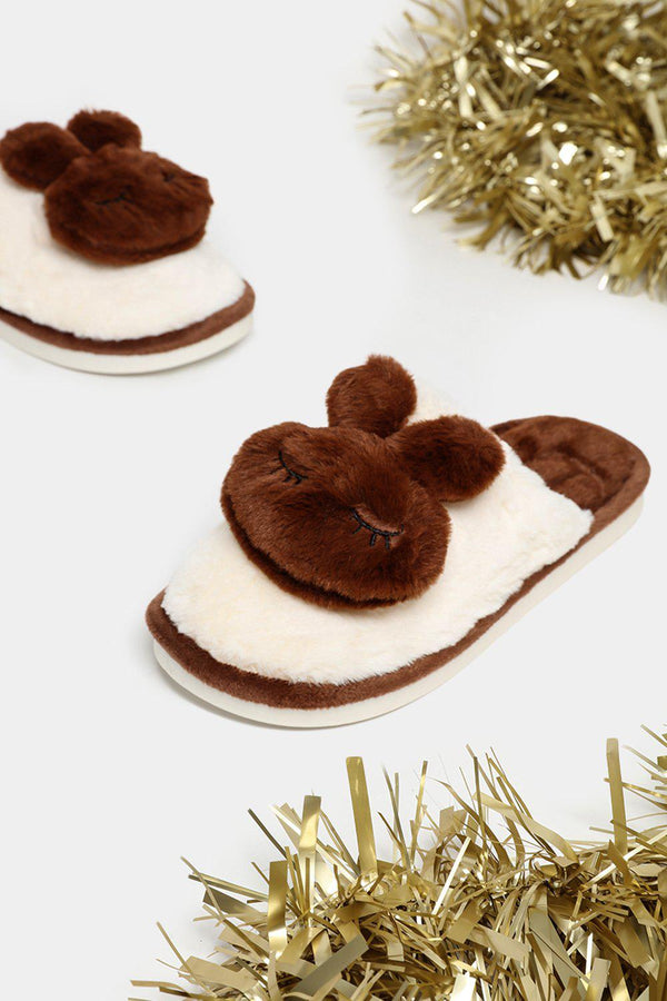 Brown Soft Faux Fur Bunny Slippers - SinglePrice
