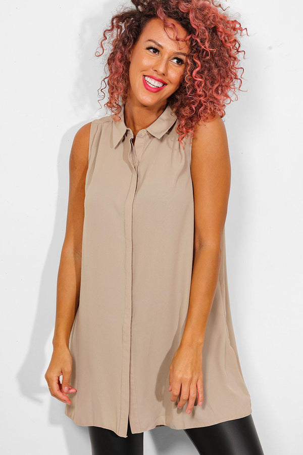 Beige Hidden Placket Sleeveless Longline Shirt - SinglePrice