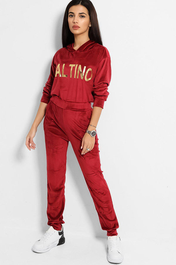 Red Super-Soft Touch Velvet Gold Slogan Tracksuit