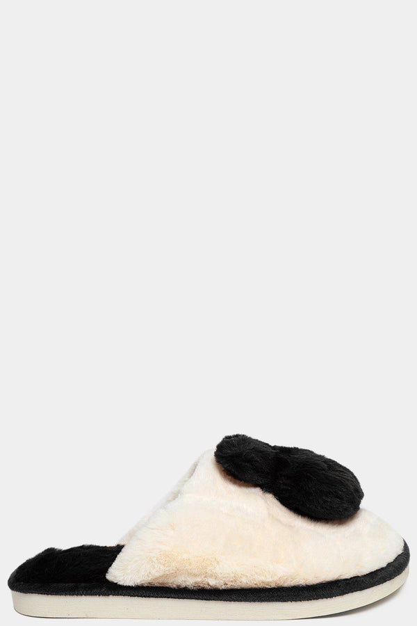 Black Soft Faux Fur Bunny Slippers-SinglePrice