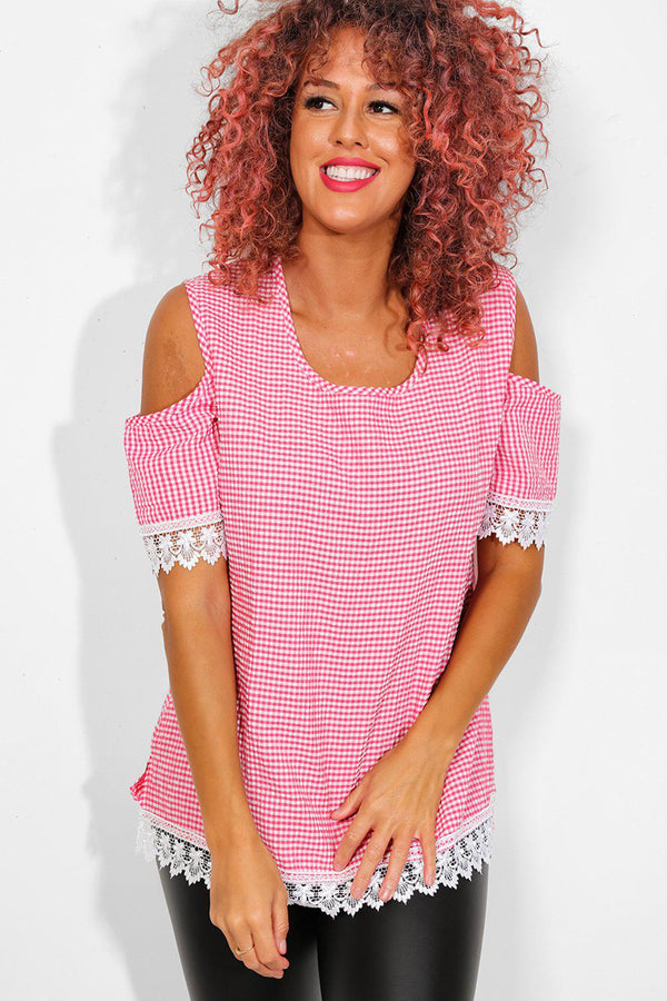 Pink Check Crochet Lace Trims Cold Shoulder Top - SinglePrice