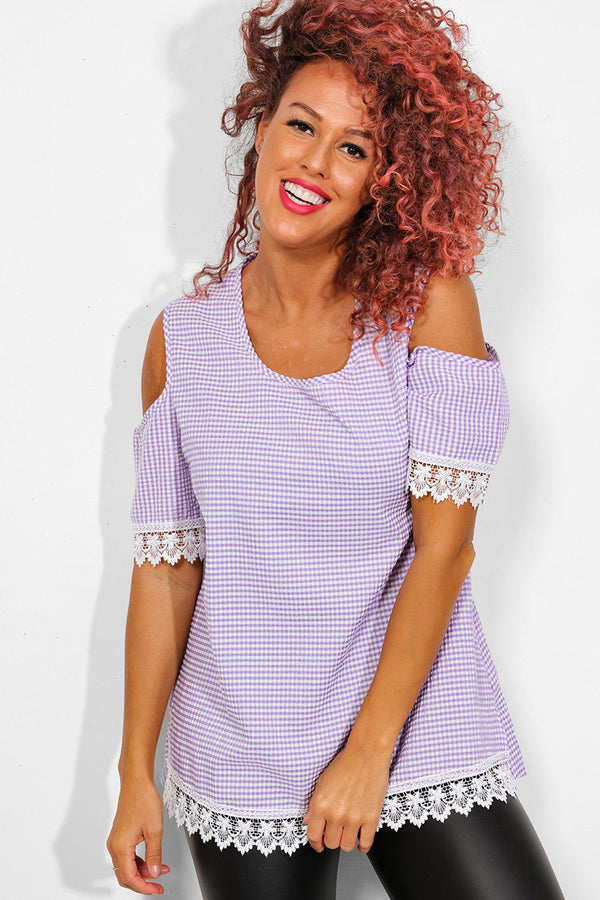 Purple Check Crochet Lace Trims Cold Shoulder Top - SinglePrice
