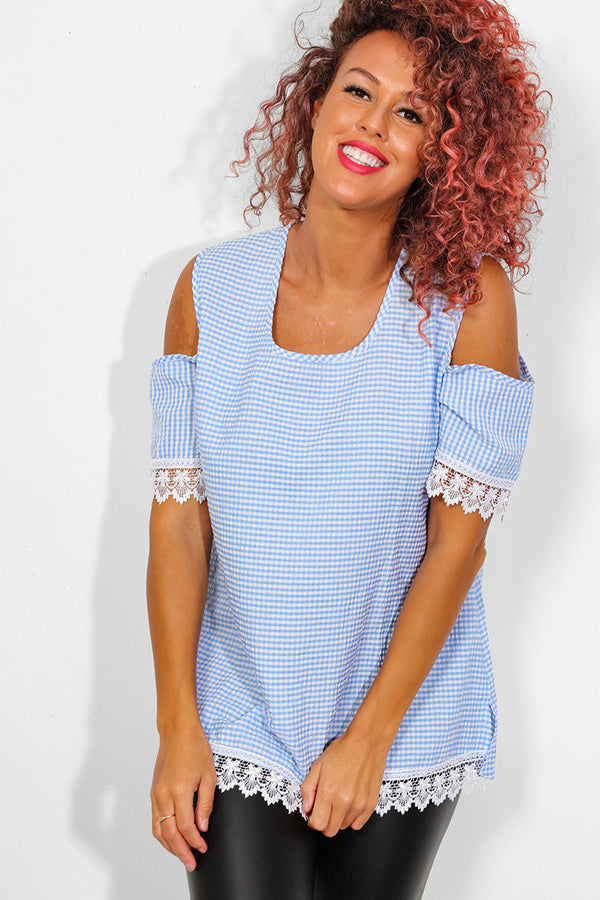 Blue Check Crochet Lace Trims Cold Shoulder Top - SinglePrice