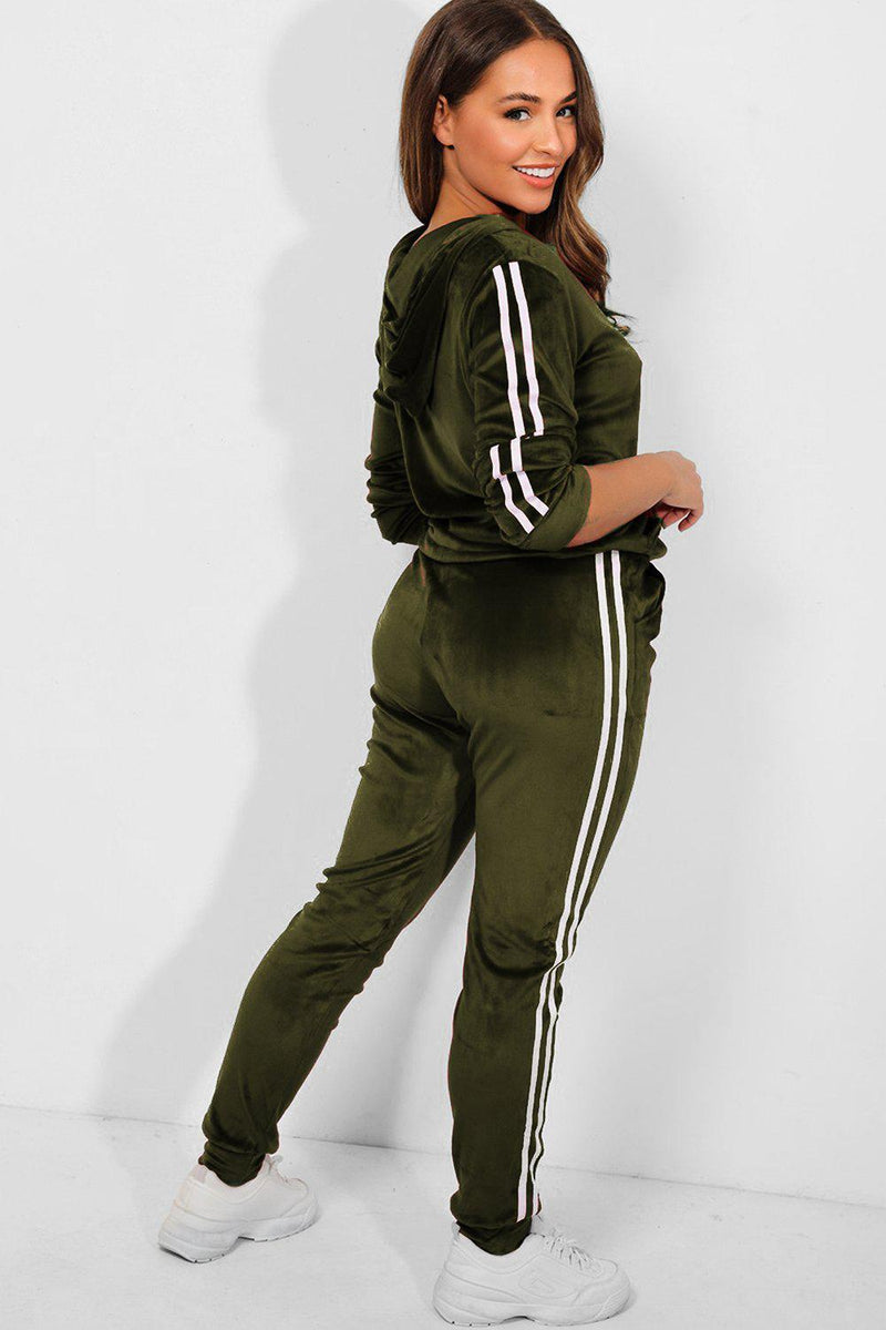 Khaki Velour Twin White Stripe Hooded Tracksuit - SinglePrice