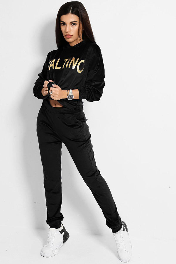 Black Super-Soft Touch Velvet Gold Slogan Tracksuit