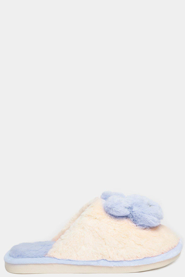 Light Blue Soft Faux Fur Bunny Slippers-SinglePrice