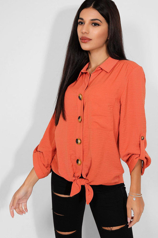Brick Button Front Tie Up Shirt - SinglePrice