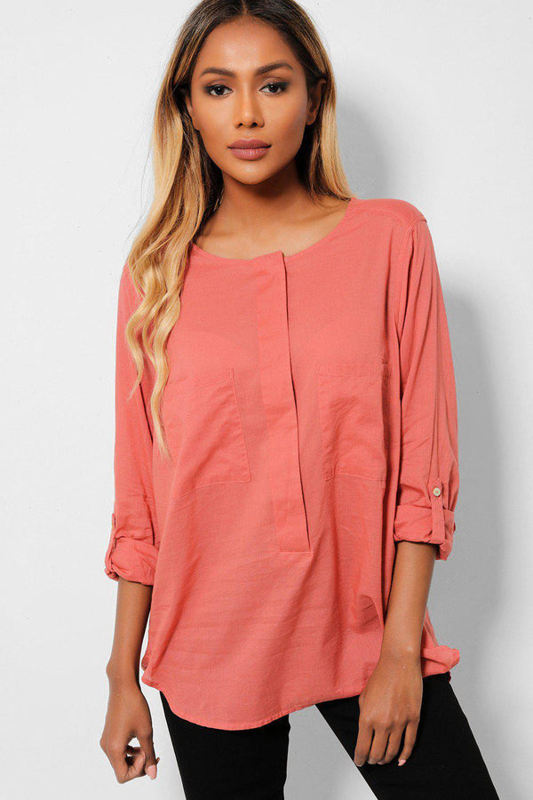 Washed Coral Roll-Up Sleeves Cotton Shirt-SinglePrice