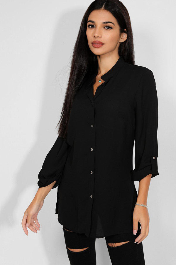 Black Collarless Chiffon Shirt - SinglePrice