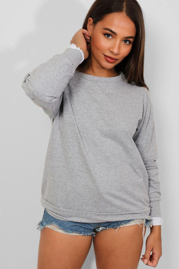 Grey Slash Elbow Shirt Insert Sweatshirt - SinglePrice