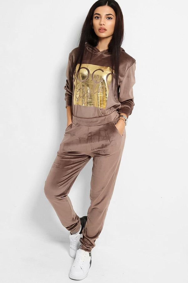 Taupe Gold Logo Front Plush Velour Tracksuit - SinglePrice
