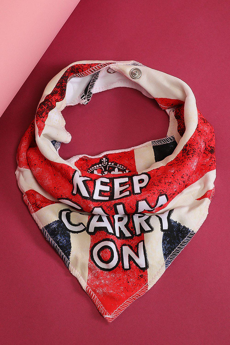 Keep Calm & Carry On Print Baby Girl Bib - SinglePrice