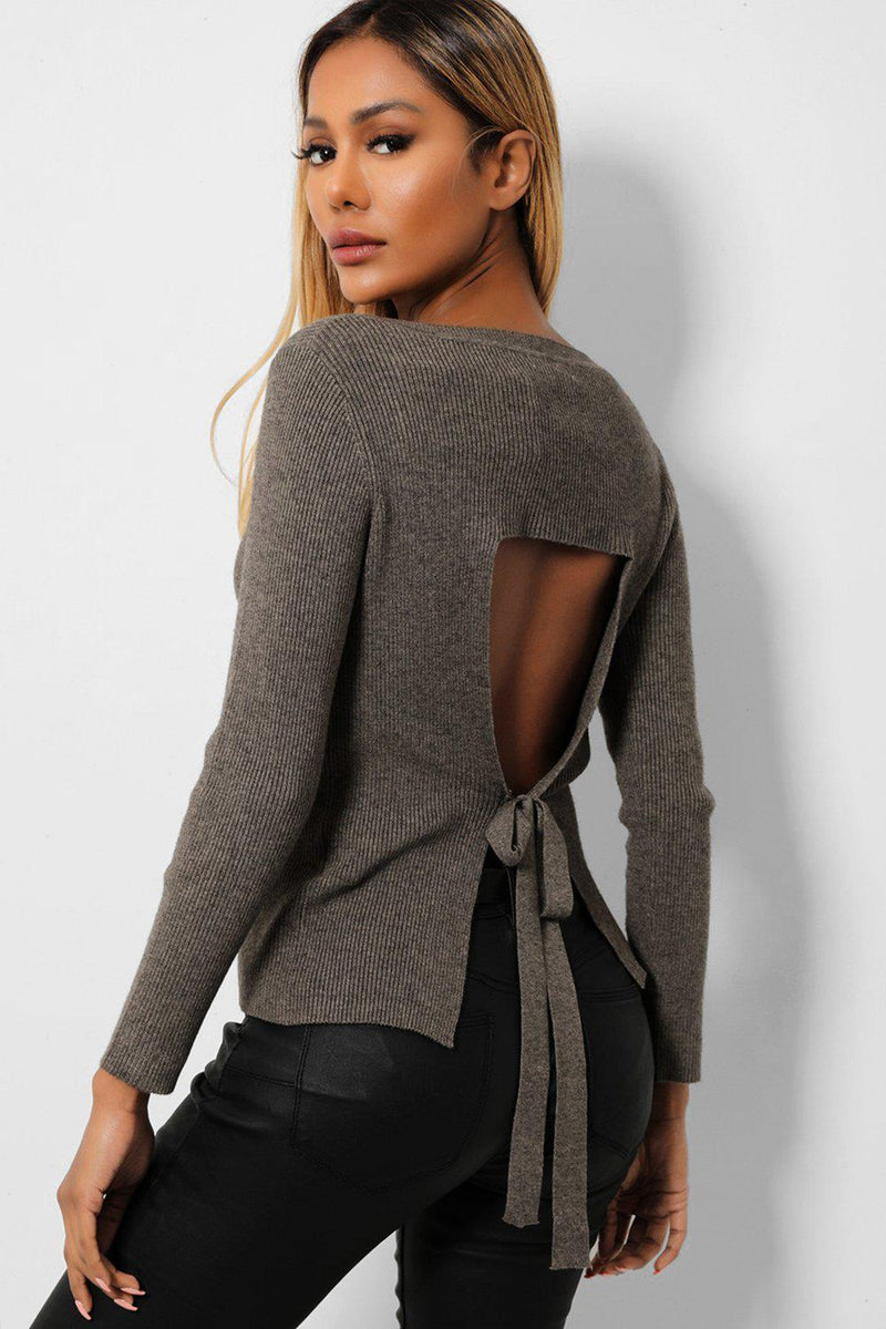 Khaki V-Neck Cut Out Tie Detail Rib Knit Pullover - SinglePrice
