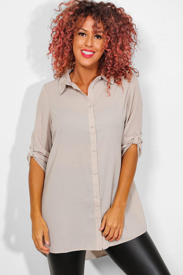 Taupe Chiffon Roll Up Sleeves Shirt