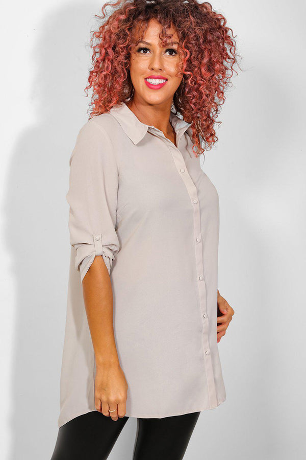 Taupe Chiffon Roll Up Sleeves Shirt-SinglePrice