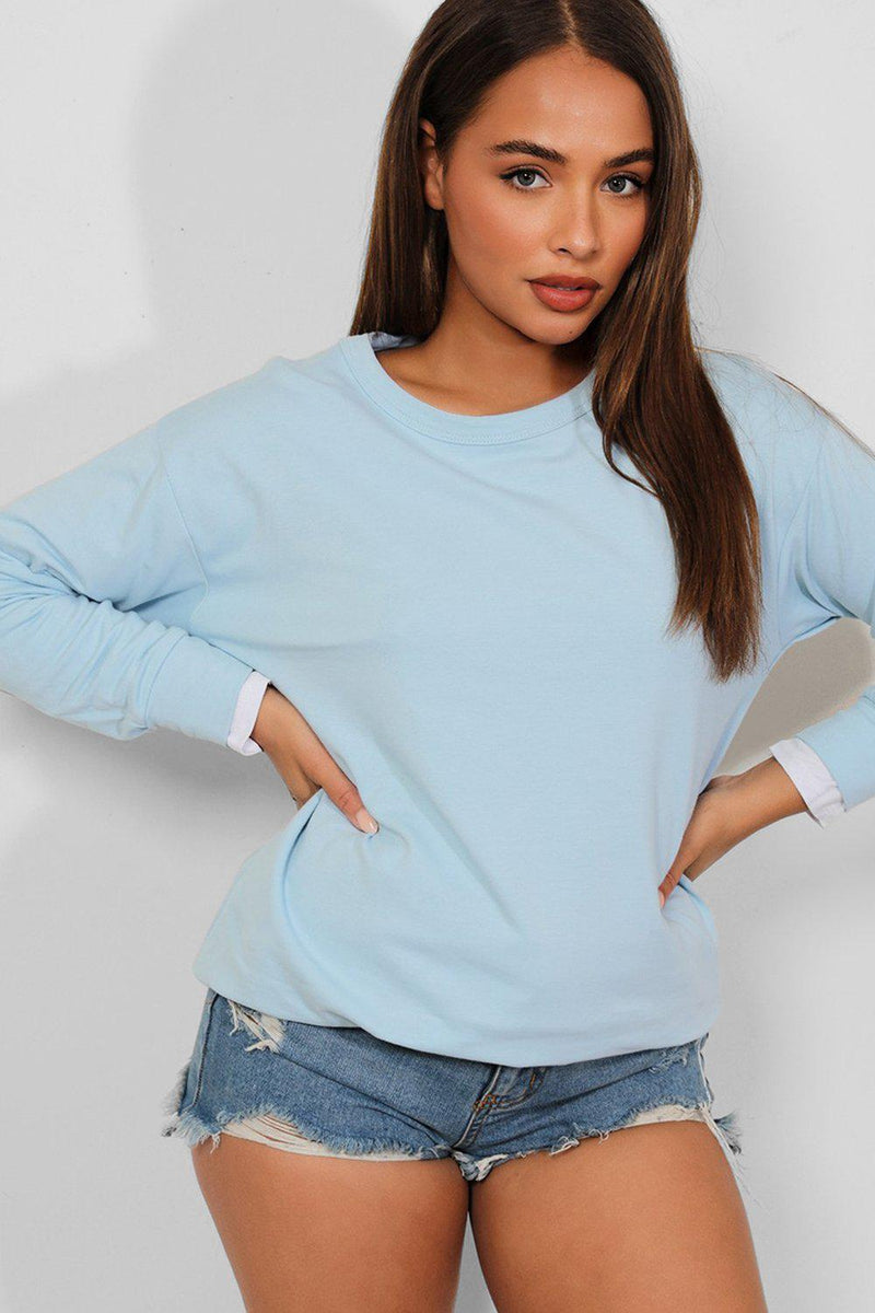 Blue Slash Elbow Shirt Insert Sweatshirt-SinglePrice