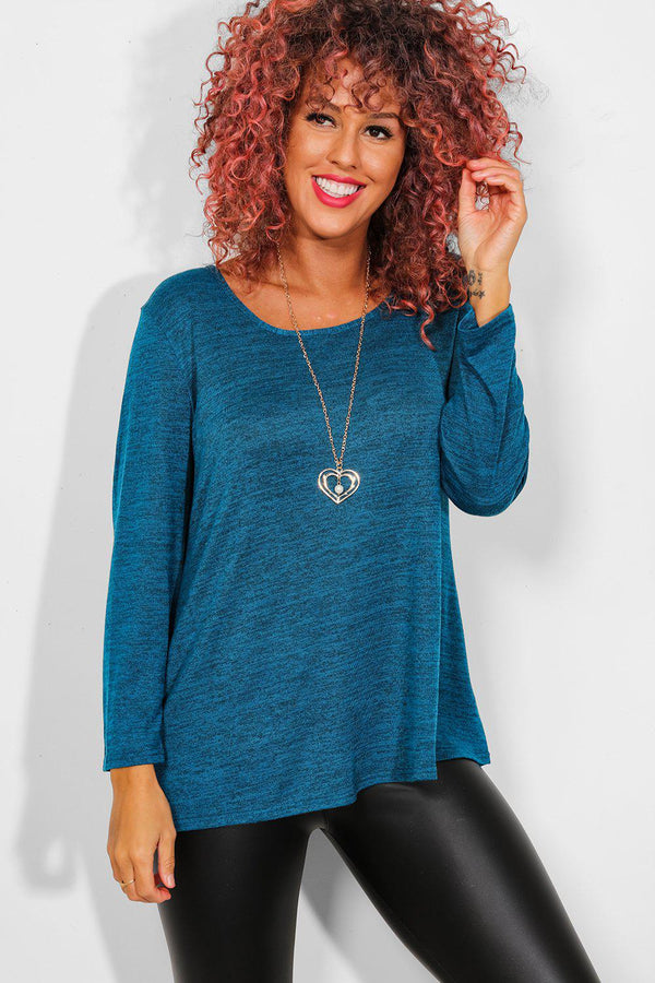 Teal Necklace Lightweight Knit Top - SinglePrice