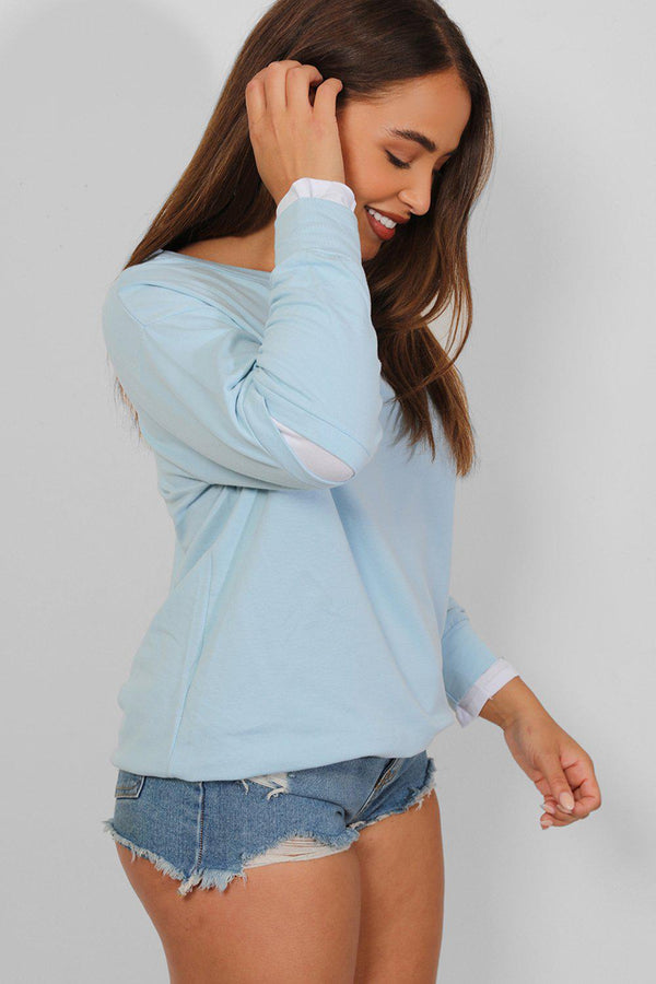 Blue Slash Elbow Shirt Insert Sweatshirt - SinglePrice