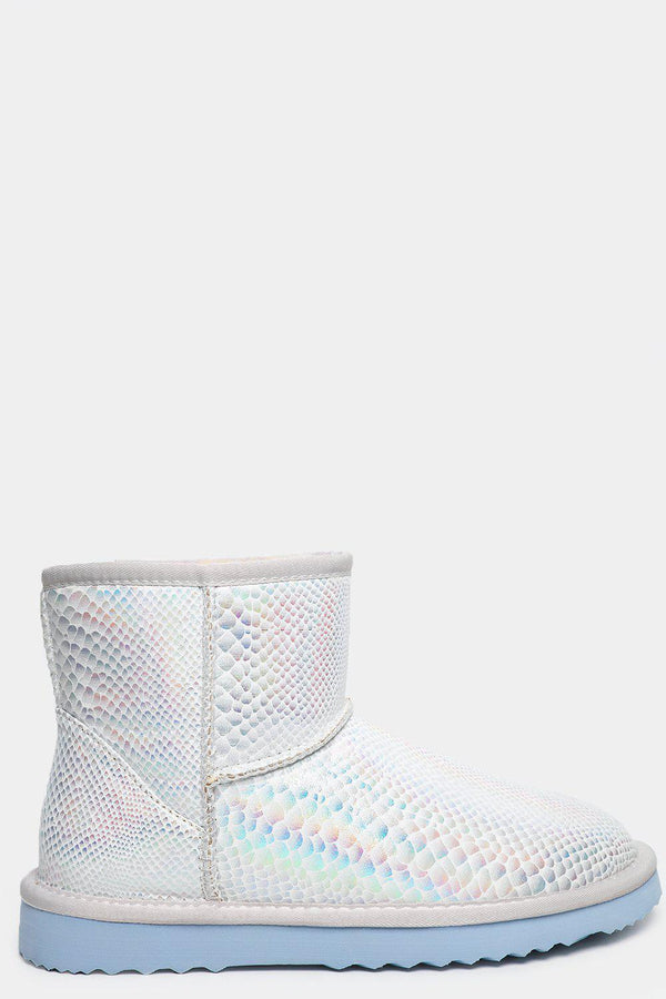 Rainbow Scales Finish Silver Warm Boots - SinglePrice